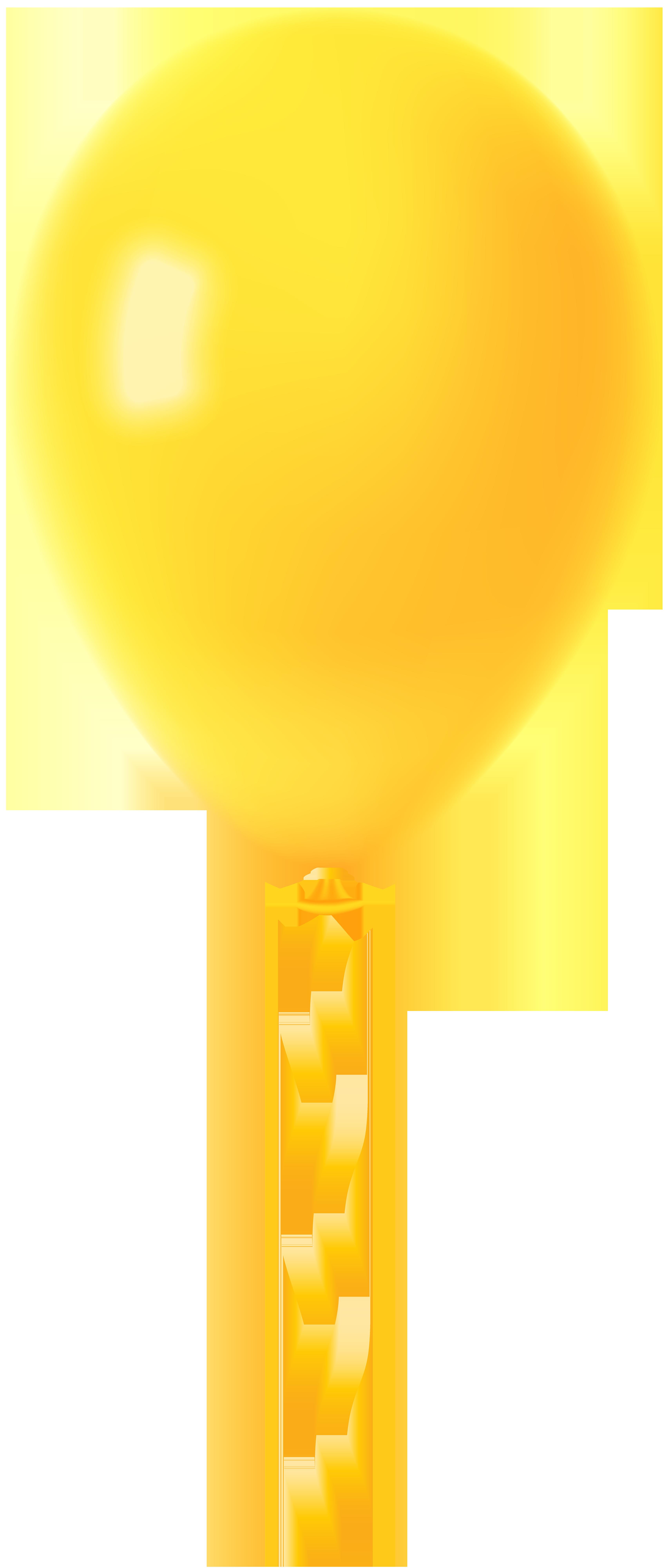 Yellow Balloon Transparent PNG Clip Art Image.