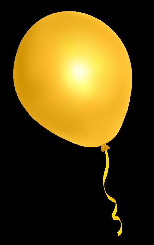 Yellow Balloon PNG image.