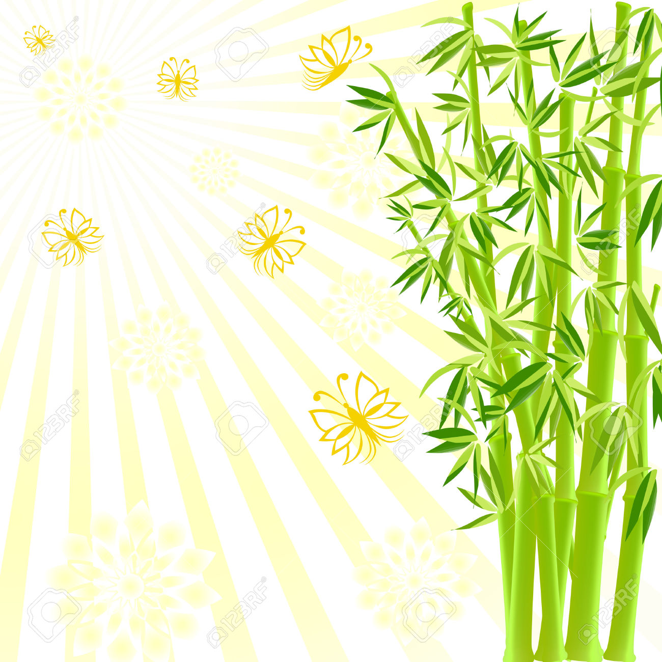 Vector Illustration Of A Bamboo With Butterflies On Sunny.
