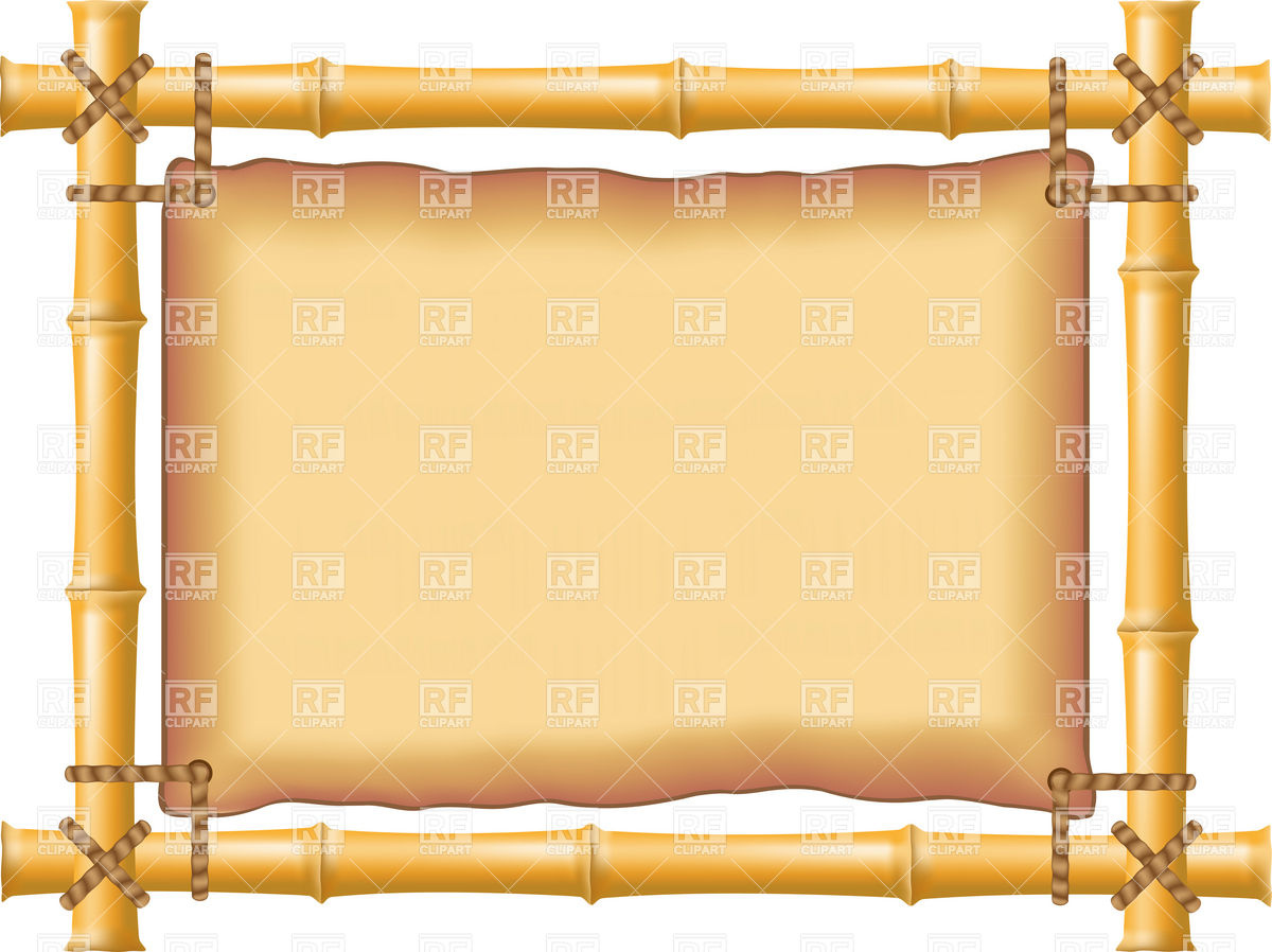 Bamboo poster frame with stretched old parchment Vector Image.