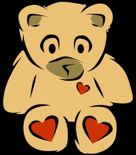 Teddy bear with hearts vector clip art.