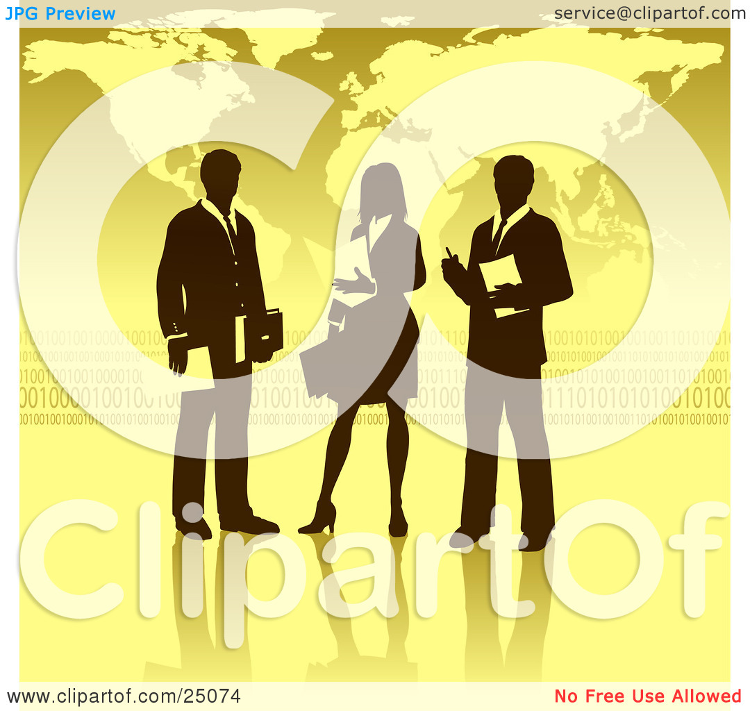 Clipart Illustration of a Businesswoman Standing Between Two Men.