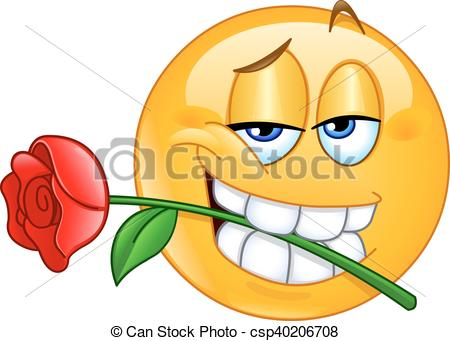 Vector Clipart of Emoticon with rose between teeth.