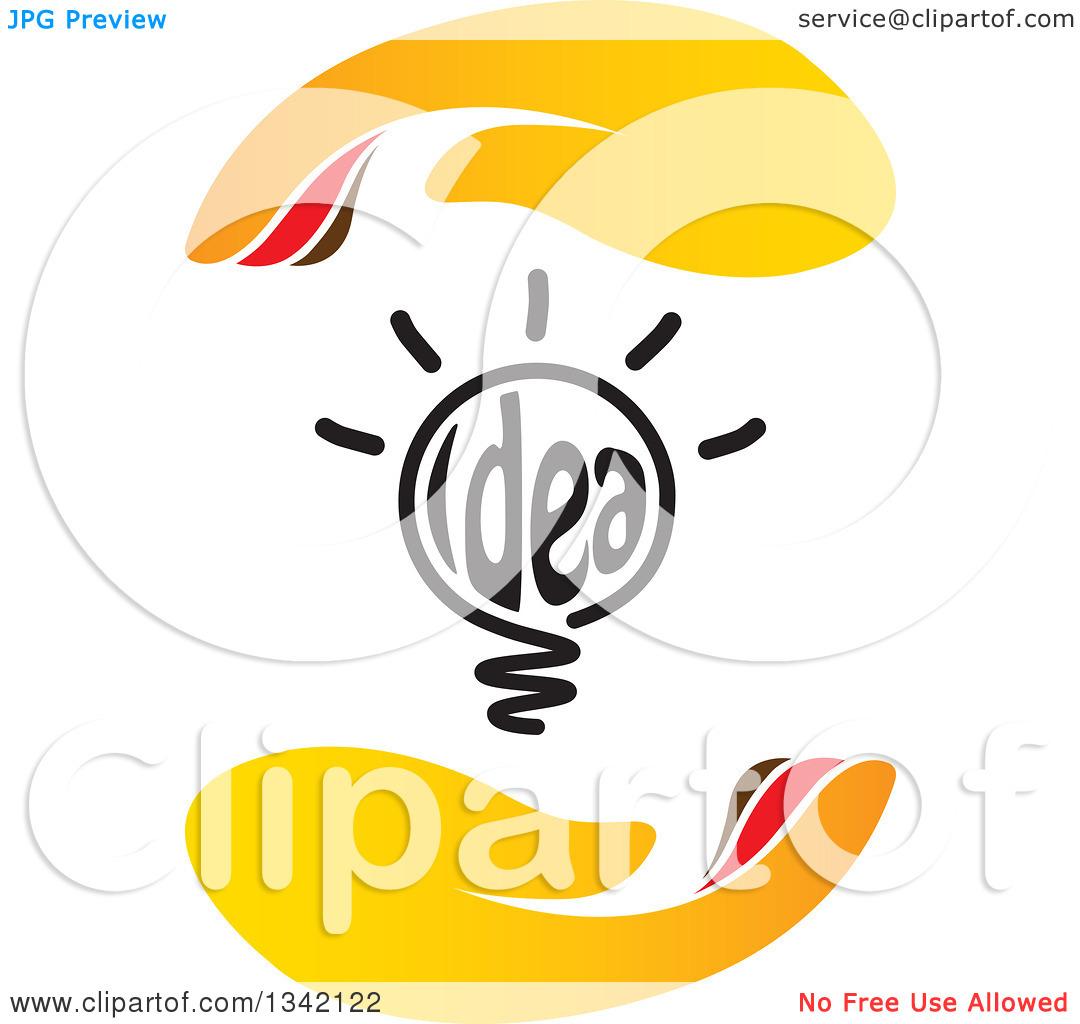 Clipart of a Shining Idea Text Light Bulb Between Hands.