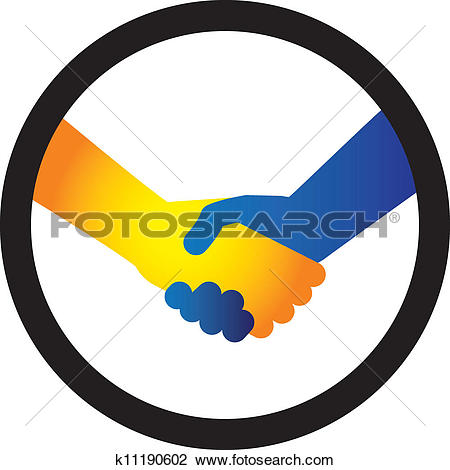 Clipart of Concept illustration of hand shake between two people.
