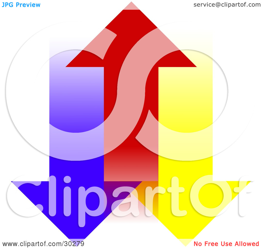 Clipart Illustration of a Red Arrow Moving Upwards, Between Blue.