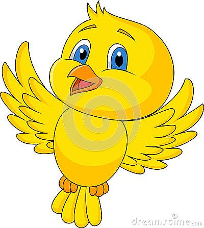 Yellow bird flying clipart.