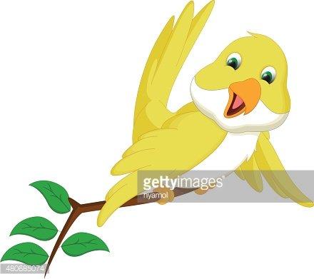 cute yellow bird cartoon Clipart Image.
