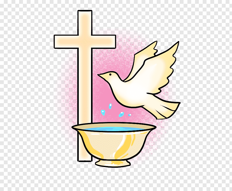 Yellow cross, bird, and bowl illustration, Baptism Symbol.