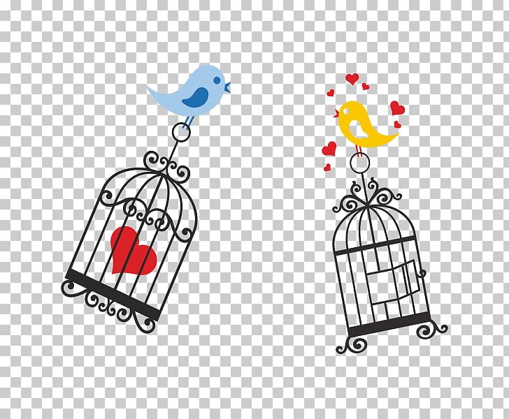 Lovebird Birdcage, tarjetas de amor, two yellow and blue.