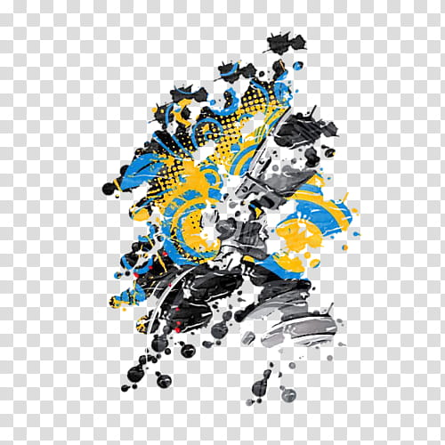 Splatter Pattern S, black, gray, and yellow abstract.