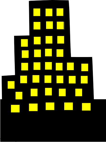 Black Sky Scraper With Yellow Windows Clip Art at Clker.com.