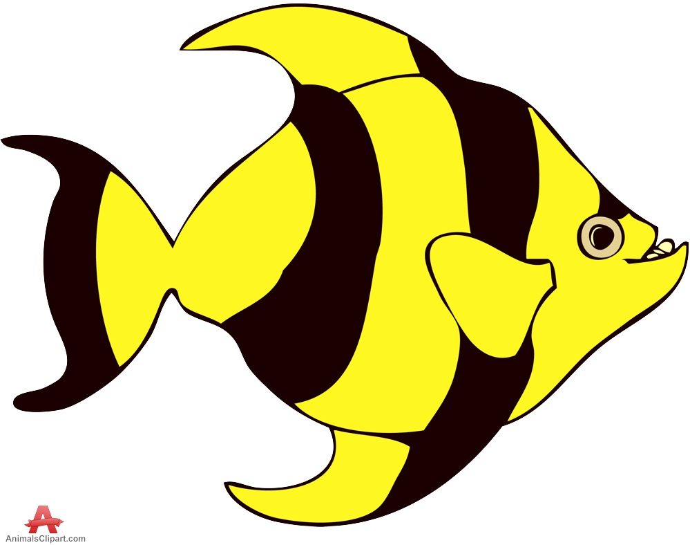 Striped Tropical Yellow and Black Fish Clipart.