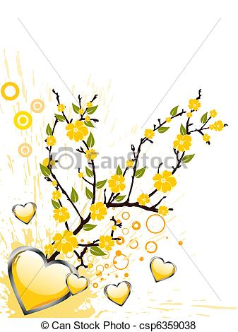 Vector of yellow blossom.