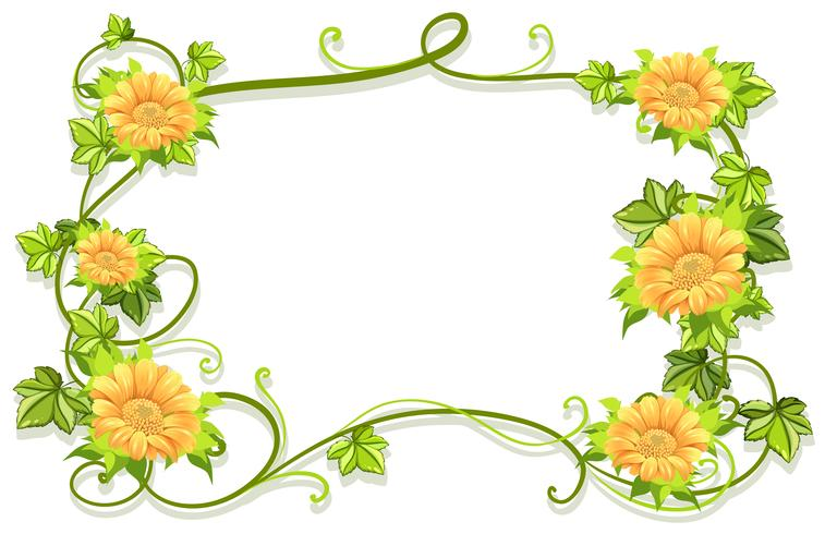 Frame template with yellow flowers.