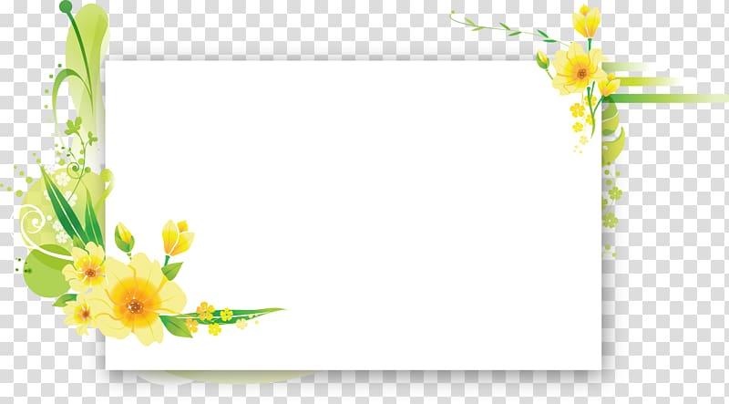 Yellow floral frame, Flower Frames Floral design Birthday.