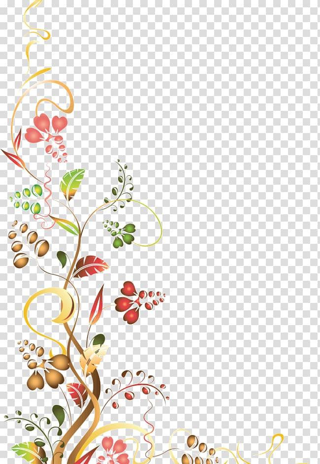 Red and yellow flower border illustration, Flower , Border.