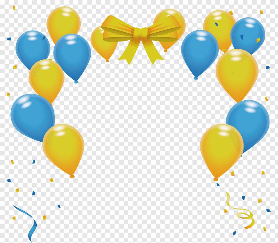 Yellow and blue balloon border, Balloon Yellow Blue, Yellow.