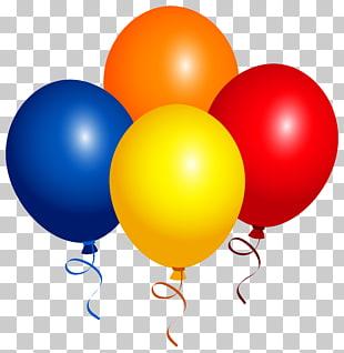 Balloon , Four Balloons , four orange, yellow, red, and blue.
