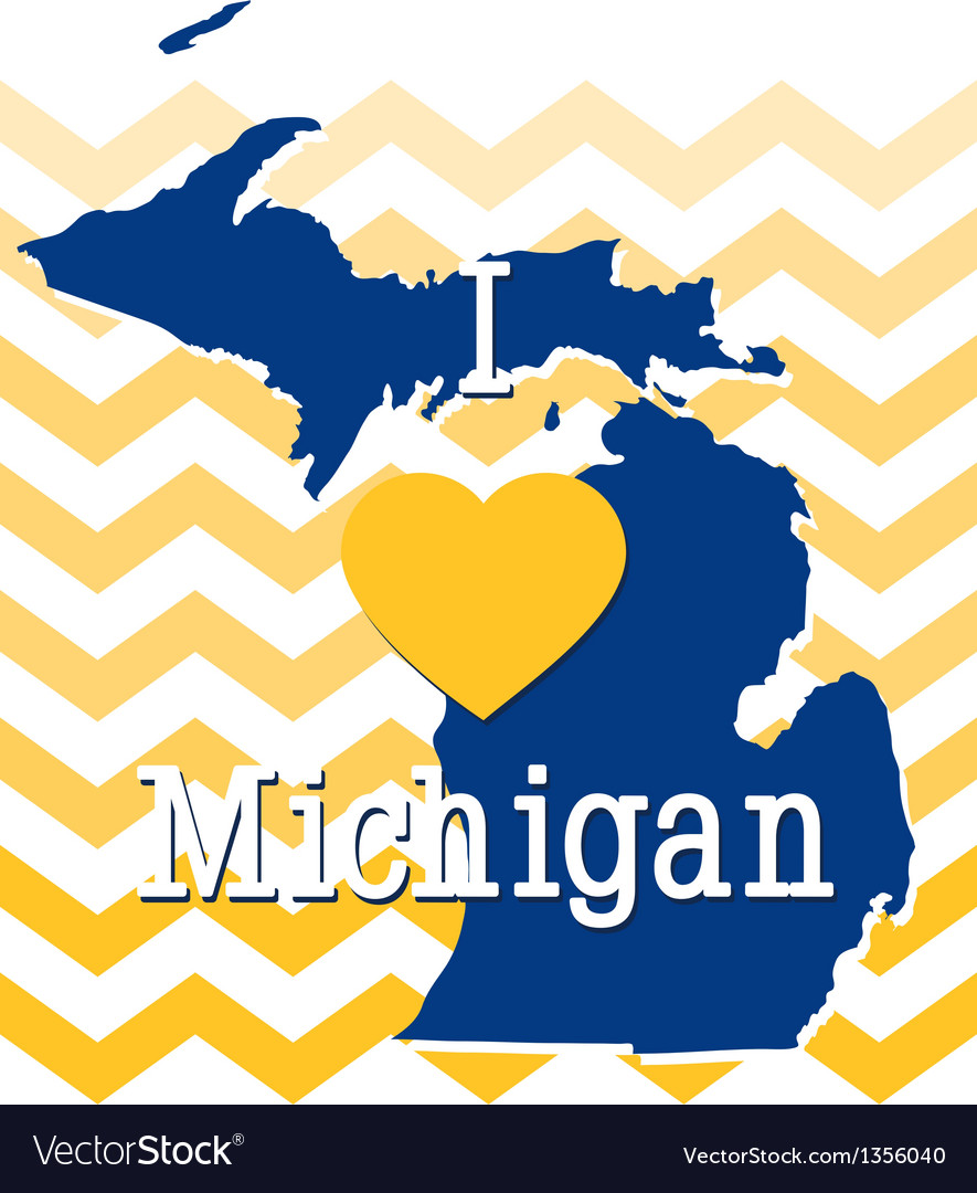 Blue and Yellow Chevron Michigan card.