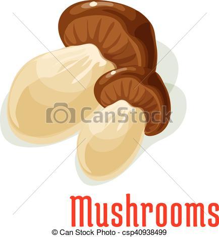 EPS Vectors of Boletus or porcini edible mushroom cartoon icon.