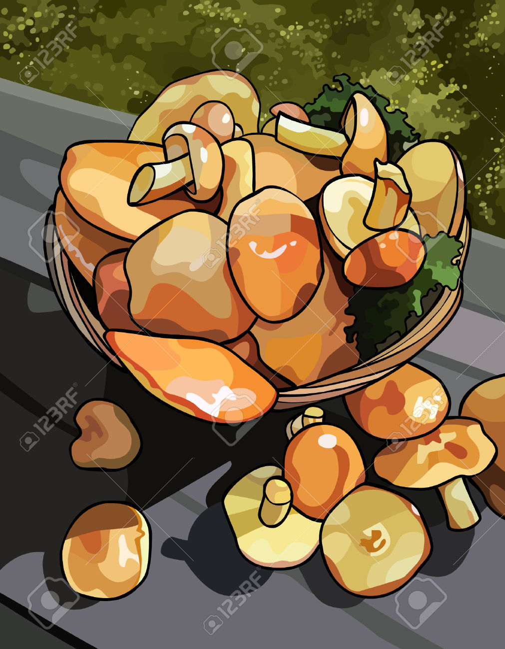 Yellow Boletus Mushrooms In A Basket Royalty Free Cliparts.