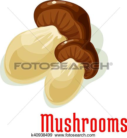 Clip Art of Boletus or porcini edible mushroom cartoon icon.
