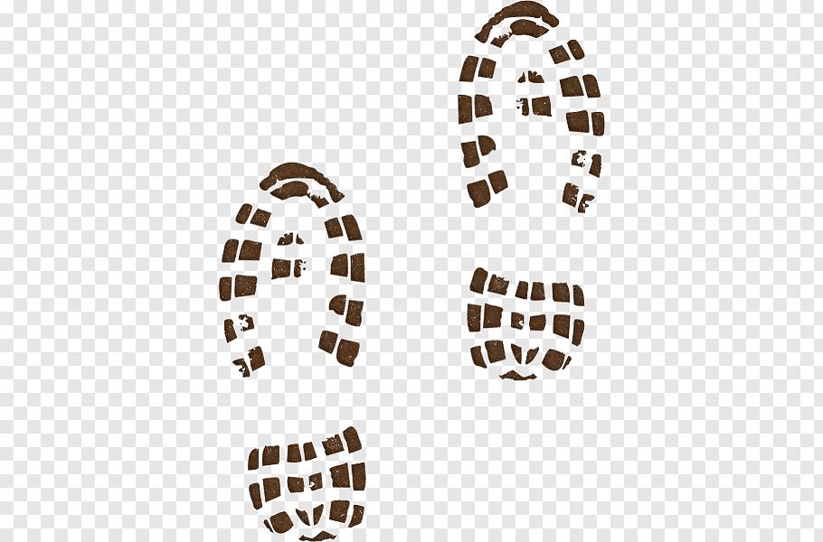 Two brown shoe print illustration, Hiking boot Shoe.