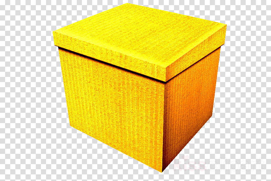 yellow box material property shipping box lid clipart.