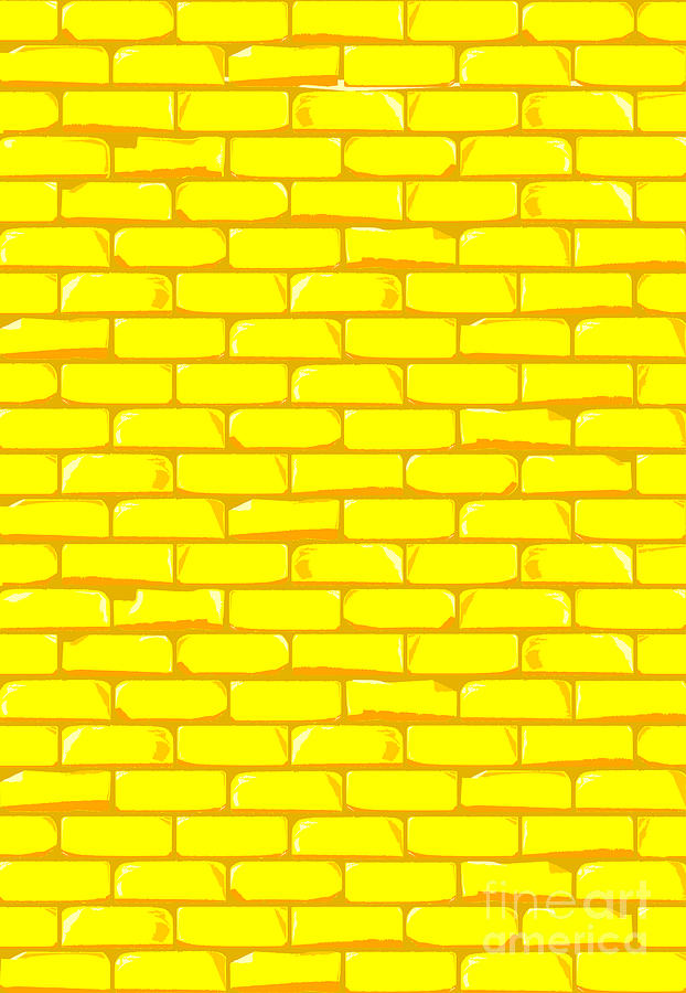 The Bright Yellow Brick Wall Background.