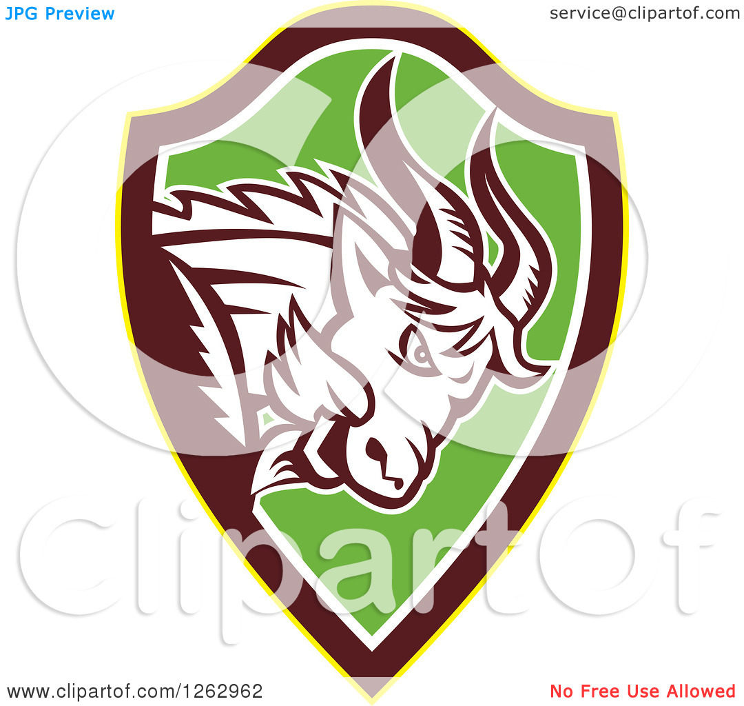 Clipart of a Retro Aggressive Mountain Goat Ram in a Yellow Brown.