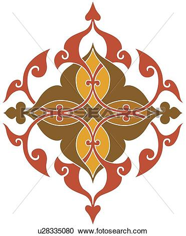 Clipart of Yellow brown and red fancy design u28335080.