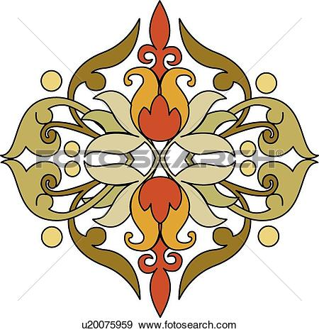 Clip Art of Yellow brown and red leaf design u20075959.