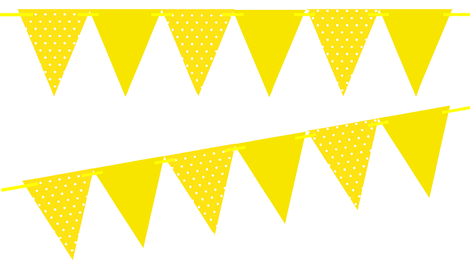 Yellow Polka Dot / Solid Yellow 10ft Vintage Pennant Banner Paper Triangle  Bunting Flags for Weddings, Birthdays, Baby Showers, Events & Parties.