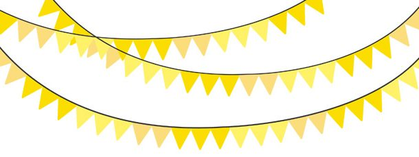 Solid Color Yellow Bunting Banner Clipart Pack.