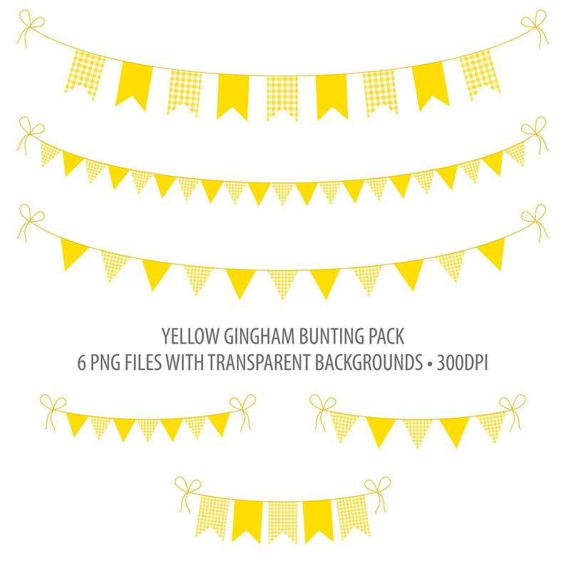 Yellow Bunting Clip Art Yellow Gingham Instant Download Printable Bunting  Yellow Gingham Summer Picnic.
