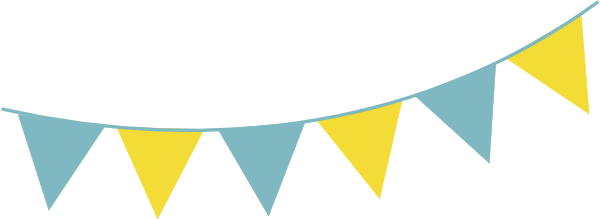 Blue Yellow Bunting PNG, SVG Clip art for Web.