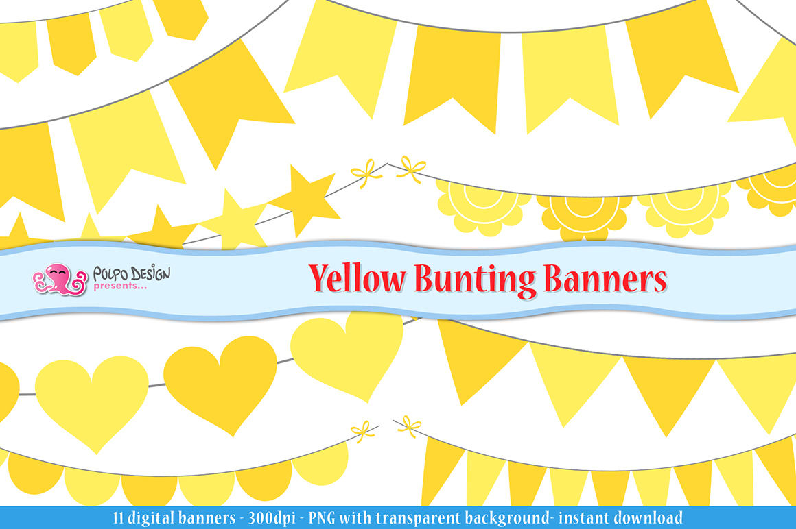 Yellow Bunting Banners clipart By Polpo Design.