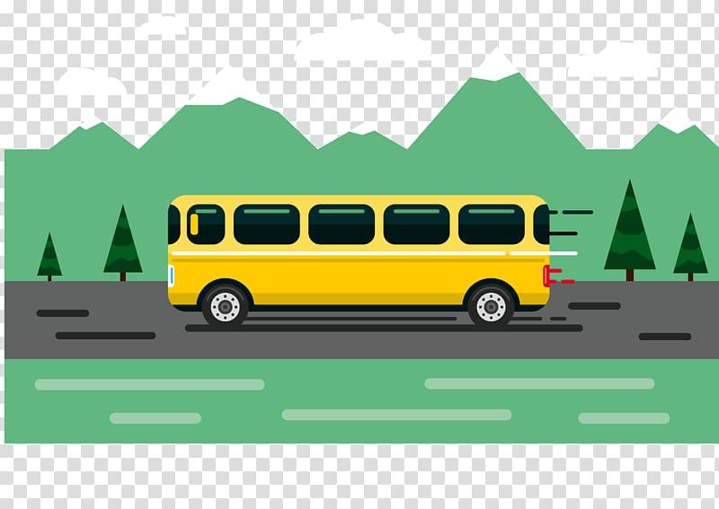 Yellow bus on road illustration, Bus Icon, bus transparent.