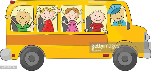 Cartoon little kid in the yellow bus Clipart Image.