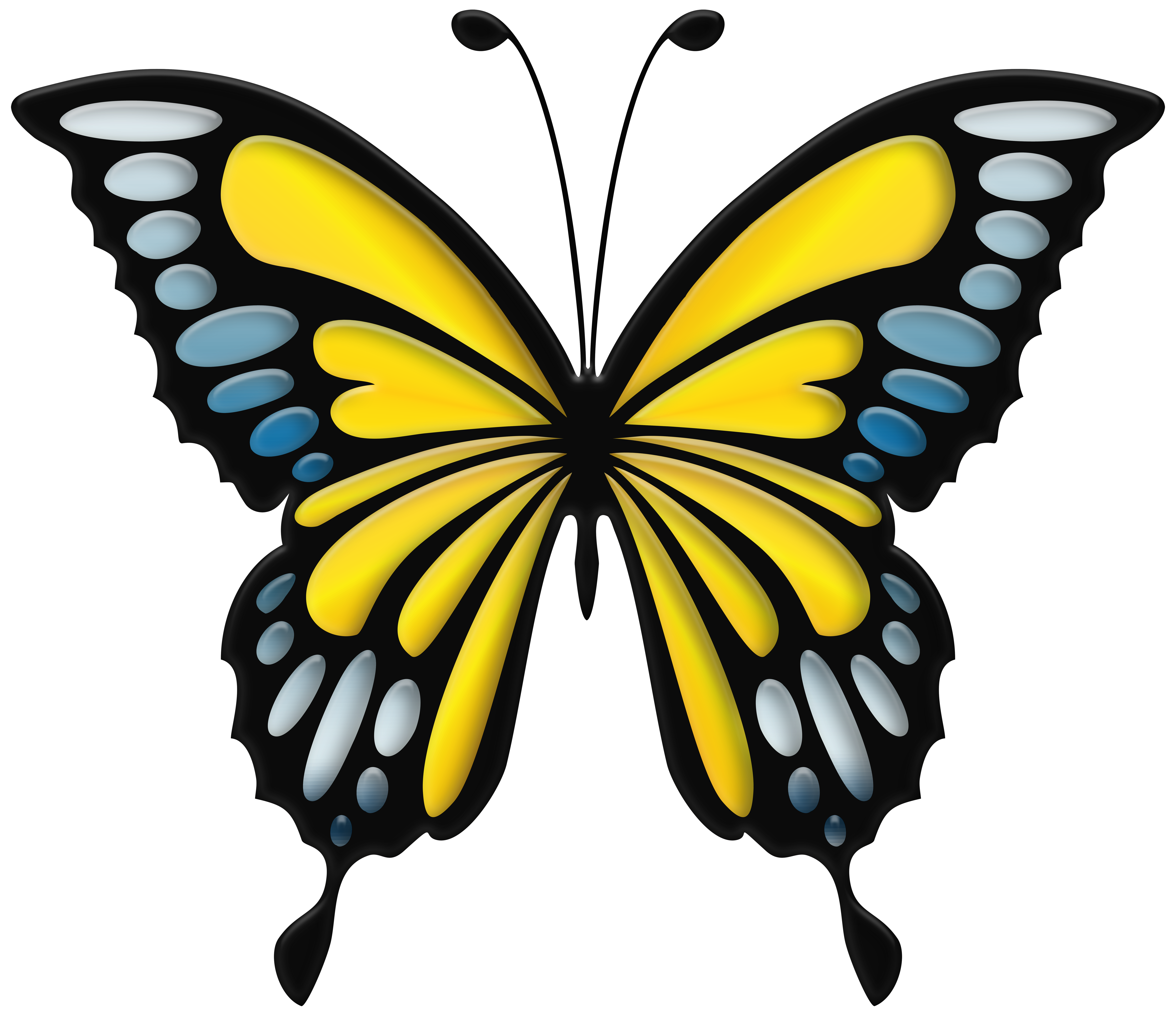 Blue Yellow Butterfly PNG Clip Art Image.