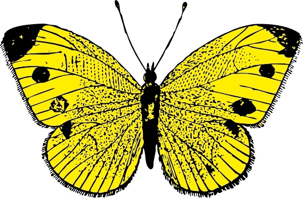 Yellow Butterfly clip art Free vector in Open office drawing svg.