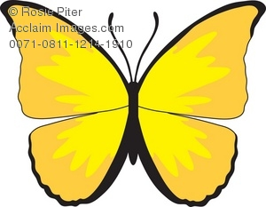 Royalty Free Clipart Illustration of a Yellow Butterfly.