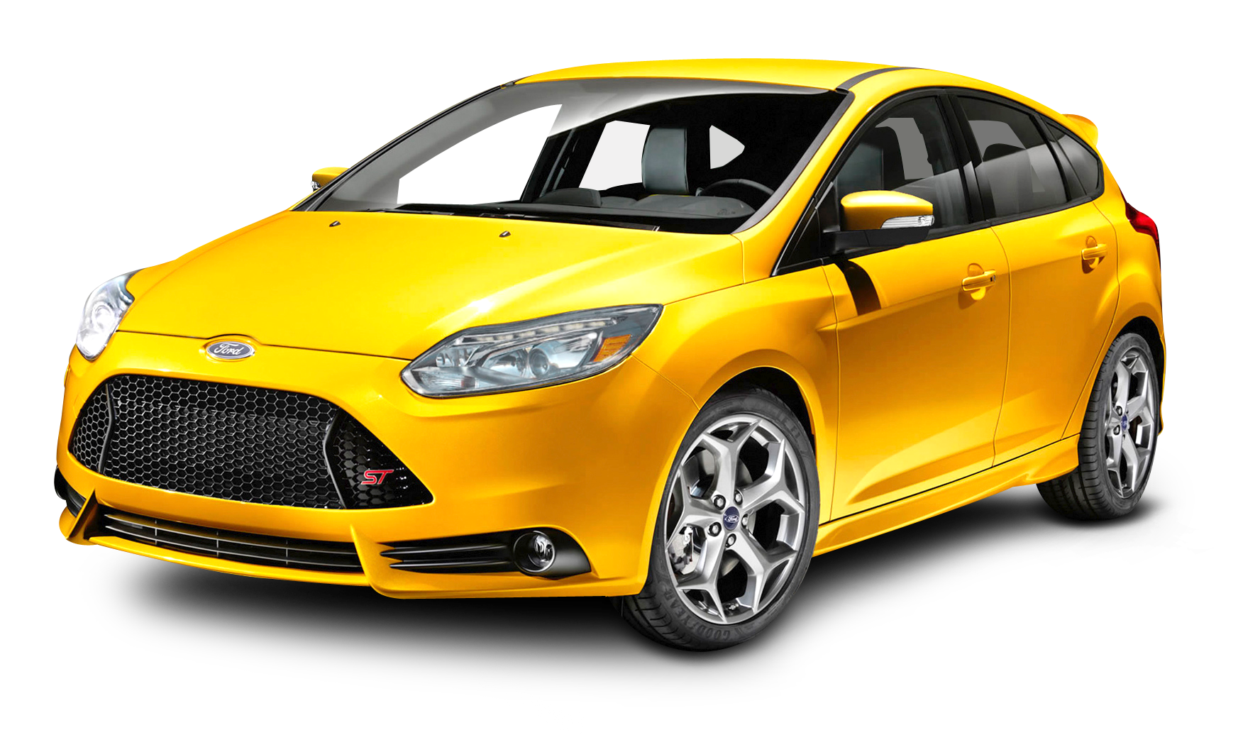 Ford Focus Yellow Car PNG Image.