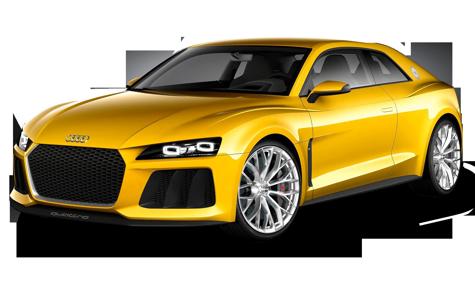 Yellow Audi Car PNG Image.