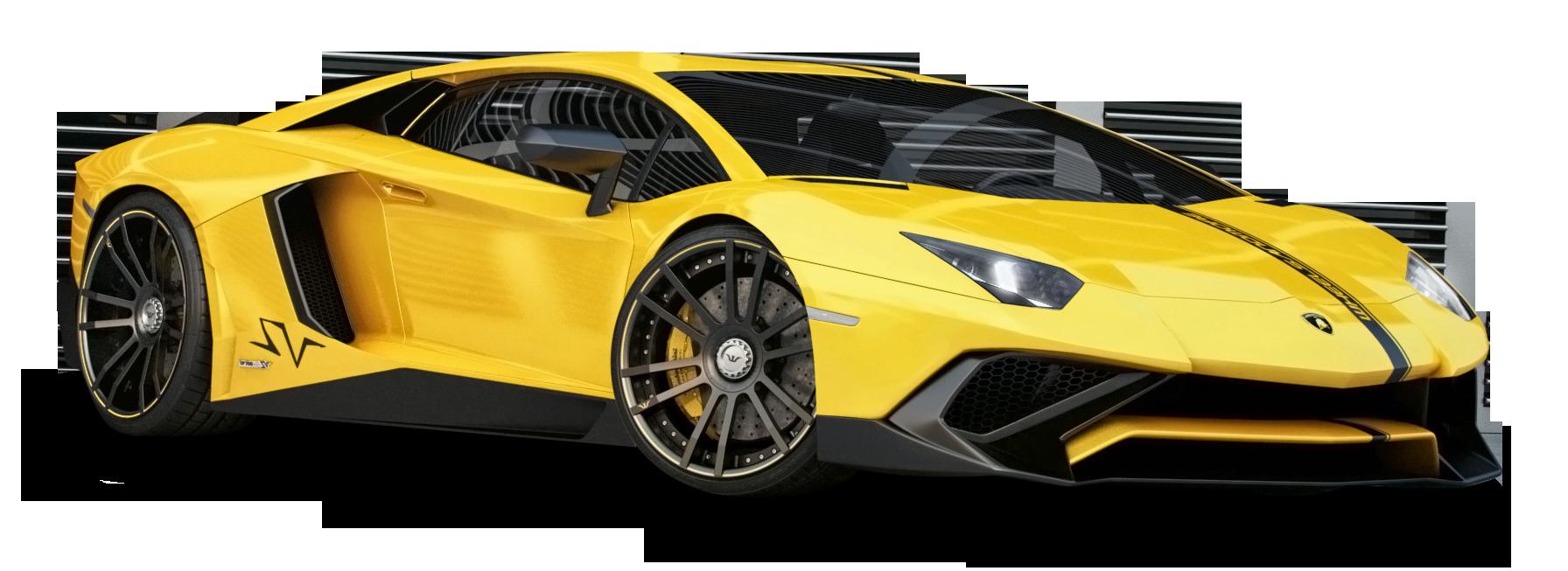 Lamborghini Aventador Yellow Car PNG Image.