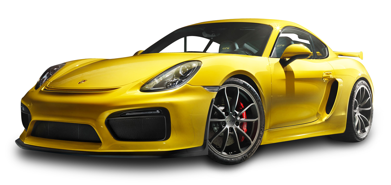 Porsche Cayman GT4 Yellow Car PNG Image.