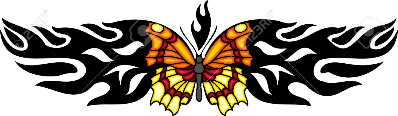 The Butterfly With Orange And Yellow Wings In The Centre Of A.
