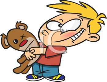 Royalty Free Clipart Image: Red Cheeked Boy Hugging His Old Teddy Bear.