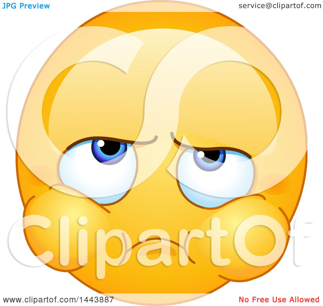 Clipart of a Cartoon Yellow Emoji Smiley Face Emoticon with Puffed.
